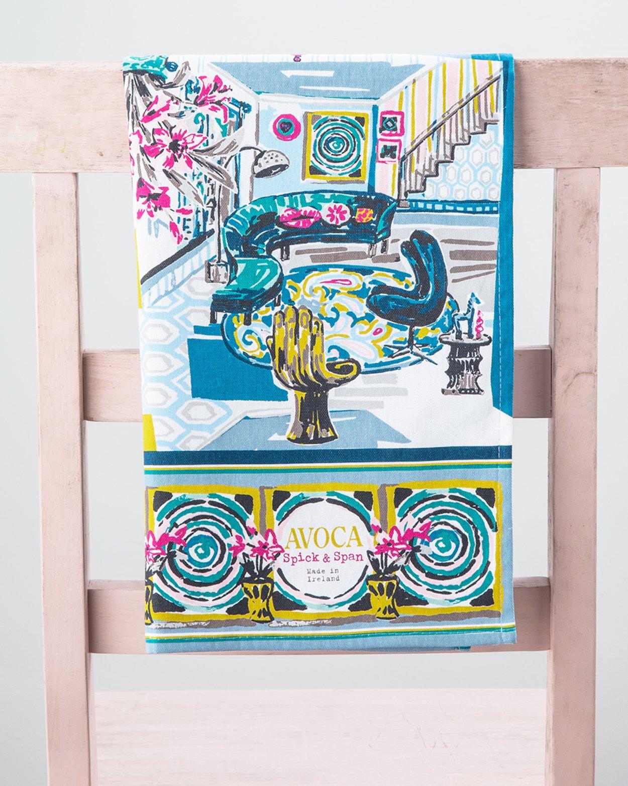 Watercolour Rooms Tea Towel