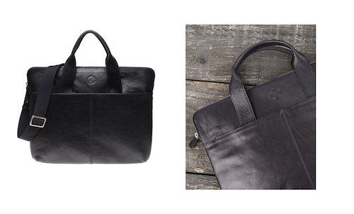 Saddler Leather Laptop Bag in Black