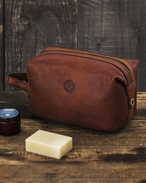 Saddler Brown Leather Toiletry Bag