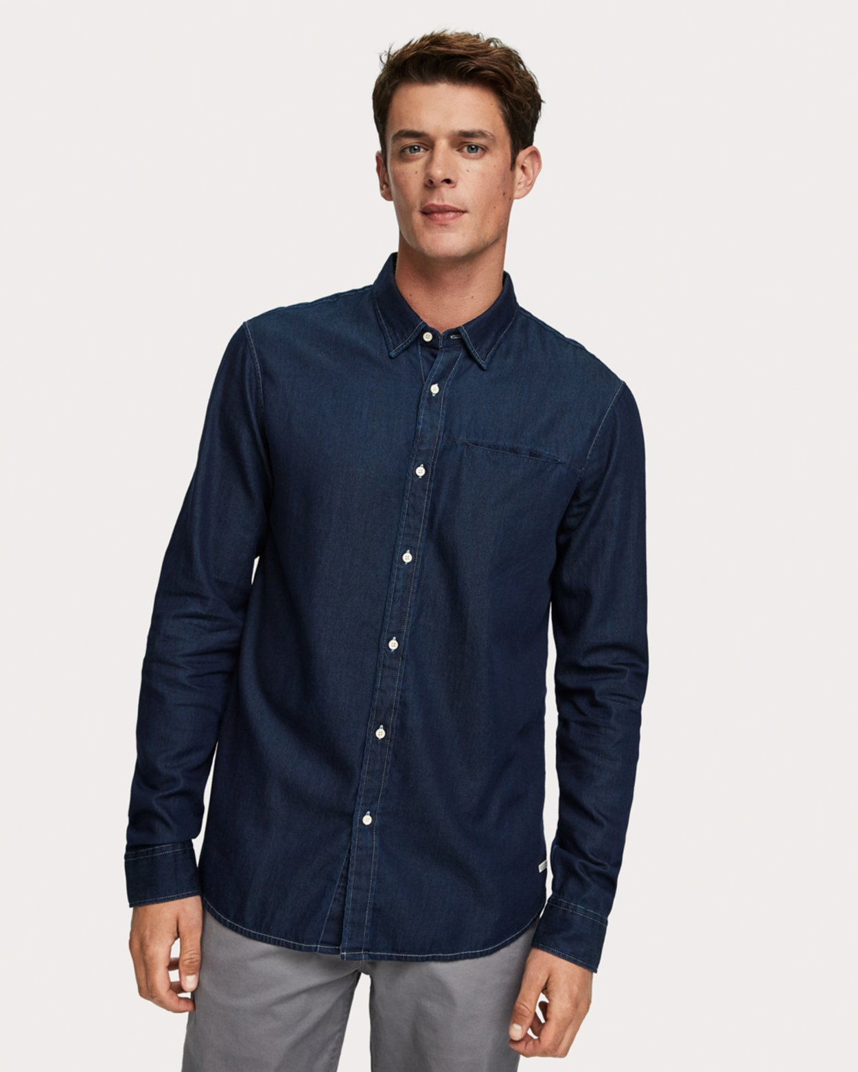 Denim Shirt with Fixed Pocket Square
