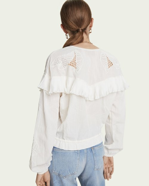 Lace Detail Loose Cotton Shirt