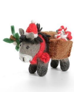 Donkey with Christmas Panniers