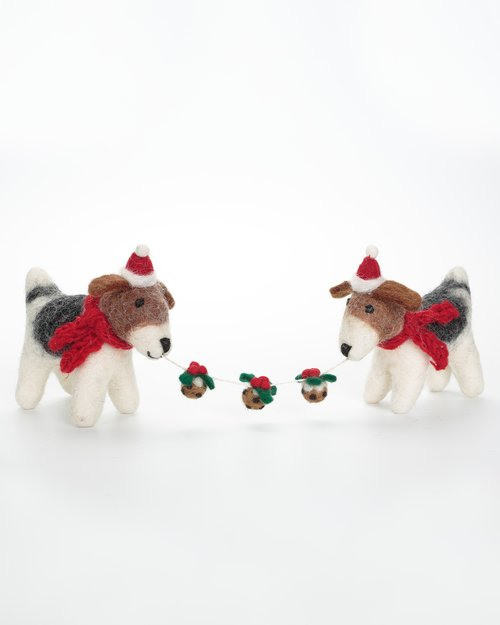 Fox Terrier Pair with Christmas Pudding