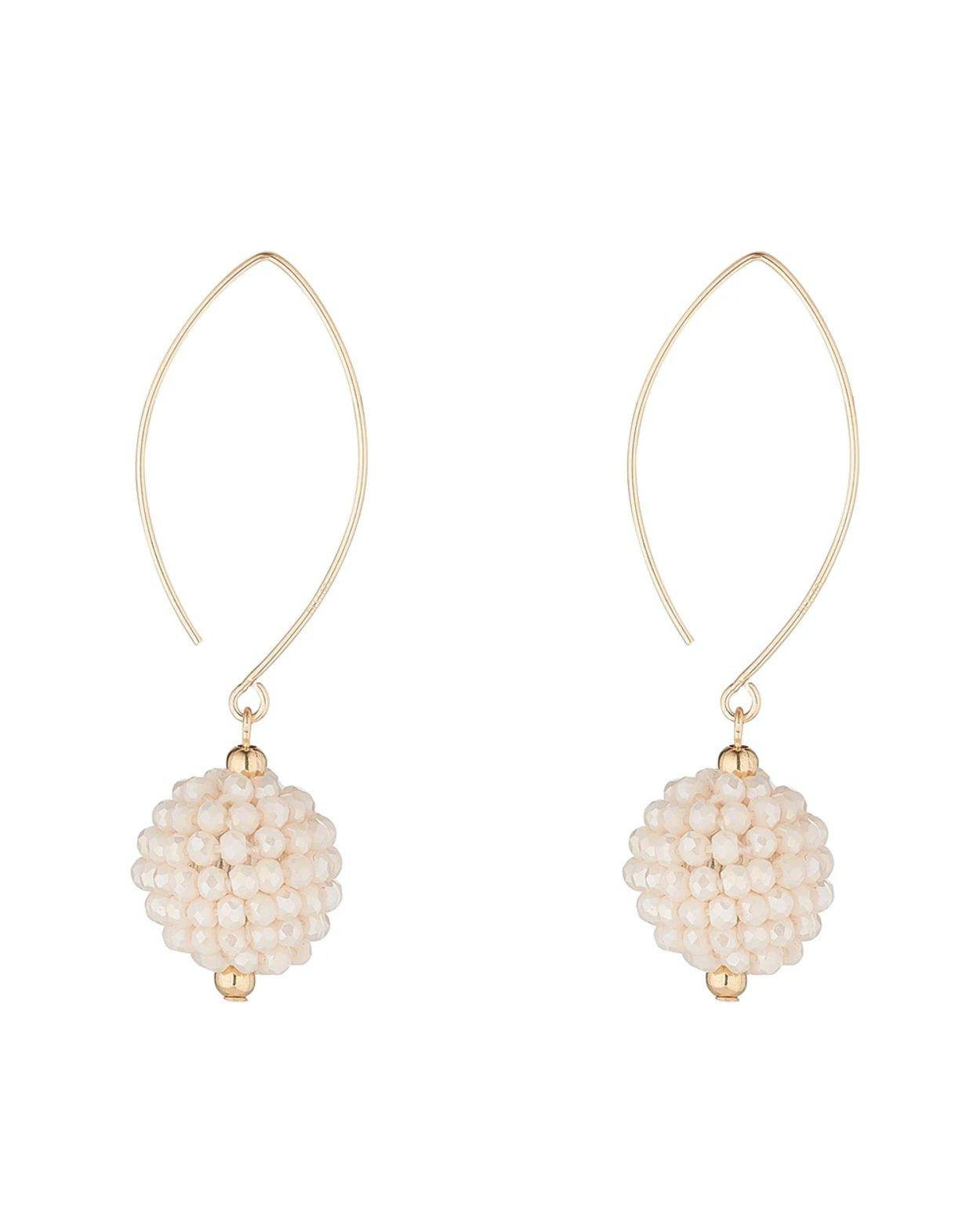 14kt Gold Filled Cream Cluster Charm Earrings