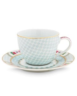 Blushing Birds Espresso Cup & Saucer - White