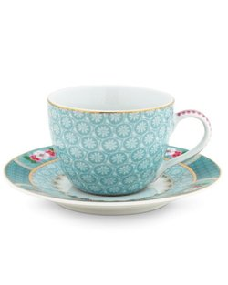 Blushing Birds Espresso Cup & Saucer - Blue