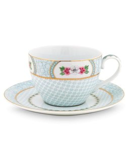 Blushing Birds Cappuccino Cup & Saucer - White
