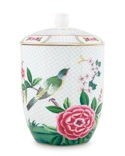 Blushing Birds Storage Jar - White