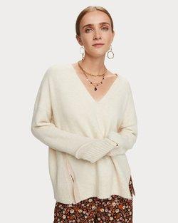 Fuzzy V-Neck Knit Pullover