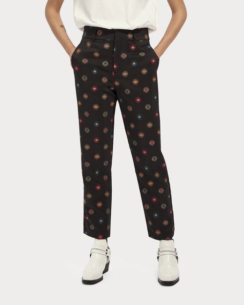 Star Print Mid-Rise Tailored Pants