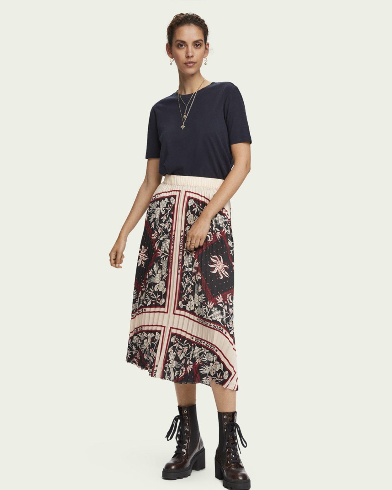 Branded Print Plisse Midi Skirt