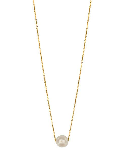 9kt Gold Floating Pearl Necklace