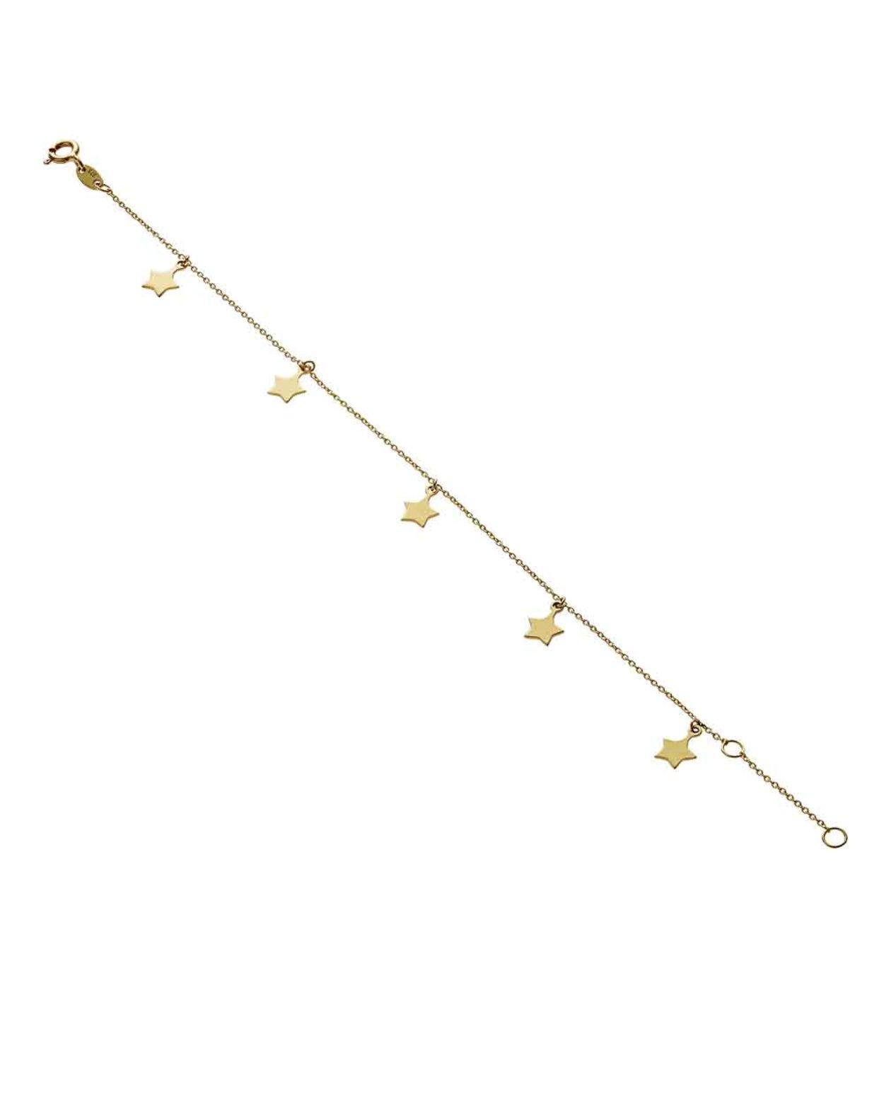 9kt Gold Five Star Bracelet