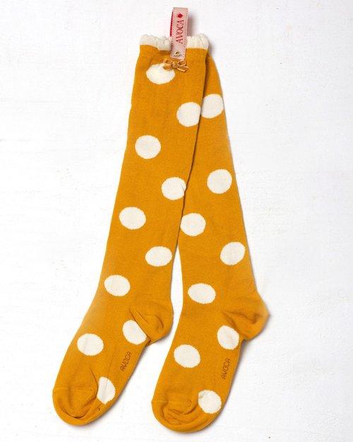 Mustard Polka Dot Knee Sock