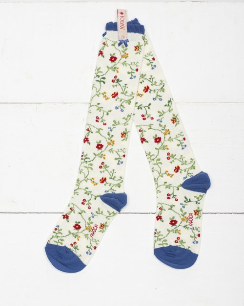 Trailing Flower Knee Sock