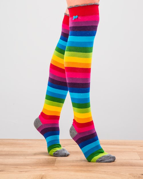 Rainbow Block Stripe Knee socks