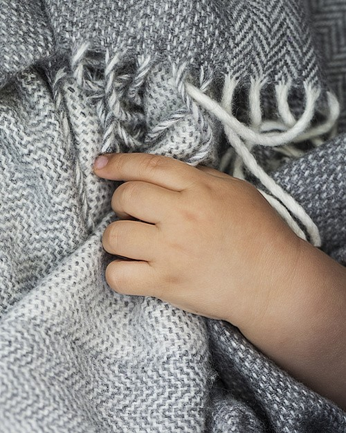 Cashmere Blend Baby Blanket in Grey