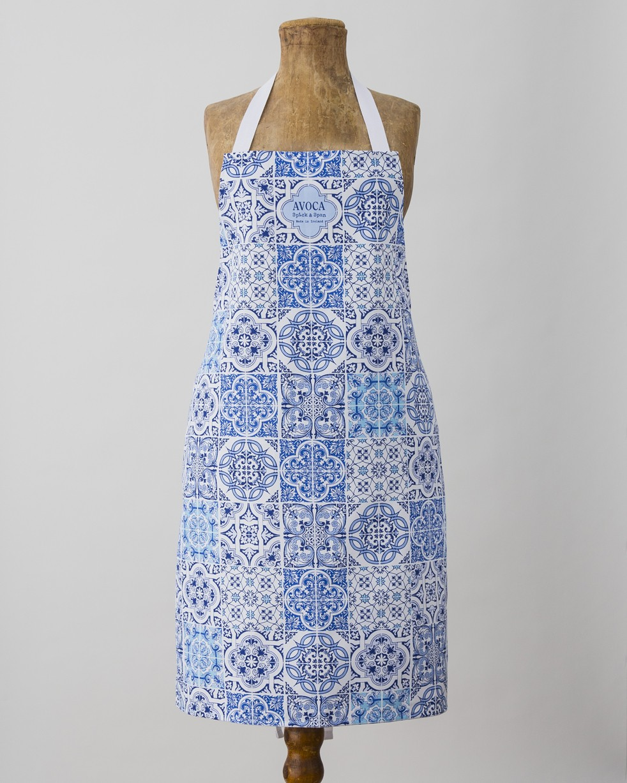 Blue Tile Print Apron