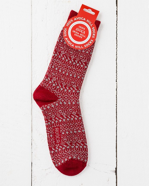 Men's Wool Blend Hill Walking Socks in Red