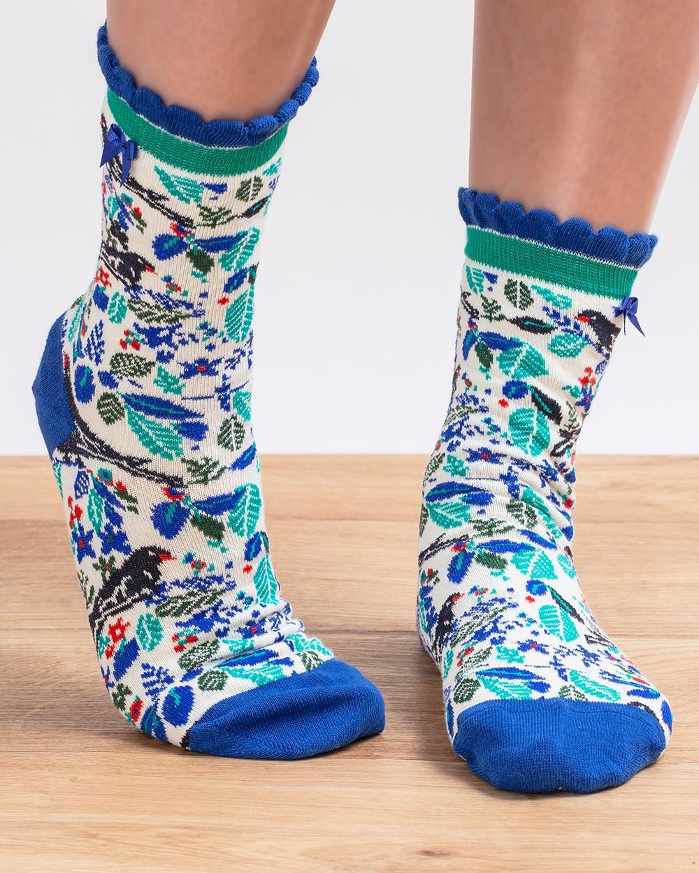 Blue Birds Ankle Socks