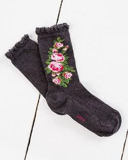Rose Design Thermal Ankle Sock