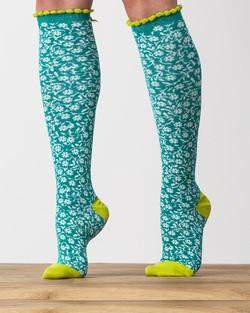 Little Flower Knee Socks in Teal