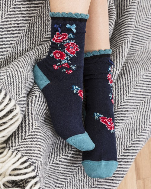 Peony Ankle Socks in Teal