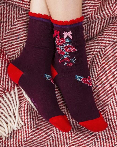 Peony Ankle Socks in Wine