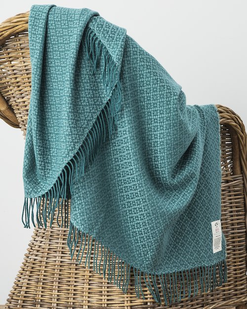Bridget Cashmere Blend Throw in Teal