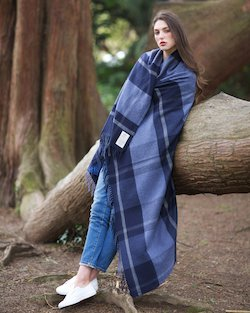 Navy Check Cashmere Blend Throw