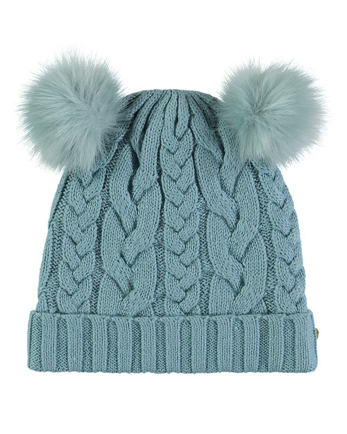 Angel Face Pom Pom Beanie in Blue