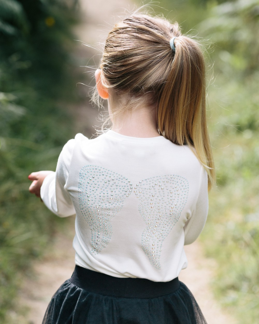 Angel Face White Crystal Wings Long Sleeve Top