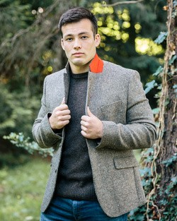 Tweed Dawson Jacket in Tan/Grey
