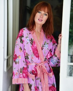Cotton Lilac Rose Floral Dressing Gown