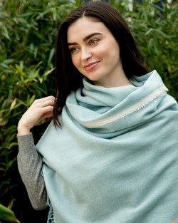 Cashmere Wool Sandymount Scarf In Duck Egg