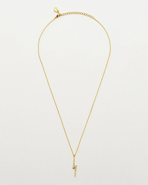 Gold Plated & Cubic Zirconia Lightning Bolt Necklace