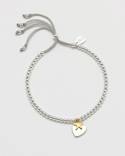 Silver & Gold Plated Heart and Star Liberty Bracelet