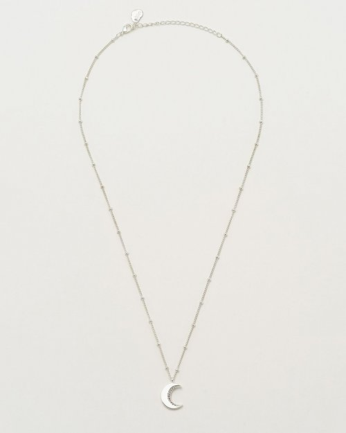 Silver Plated & Cubic Zirconia Moon Necklace