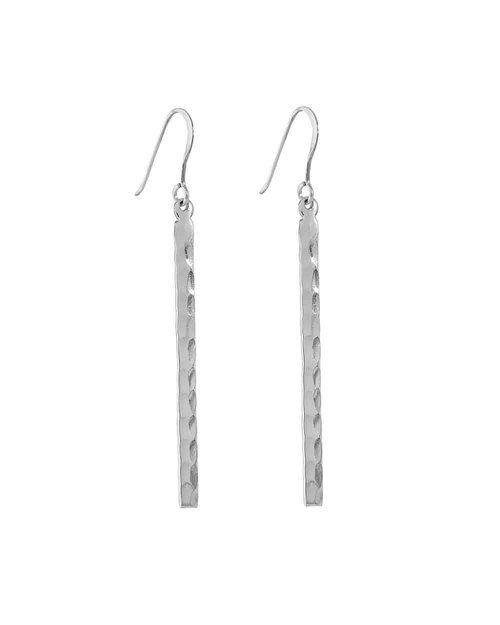 Silver Hammered Bar Drop Earrings