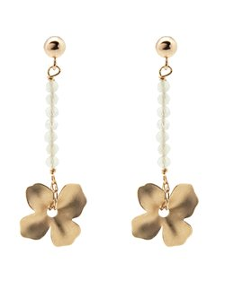 Beaded Line Flower Earrings - Aquamarine