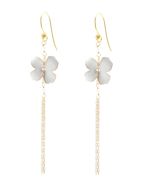 Flower Fringe Earrings - White