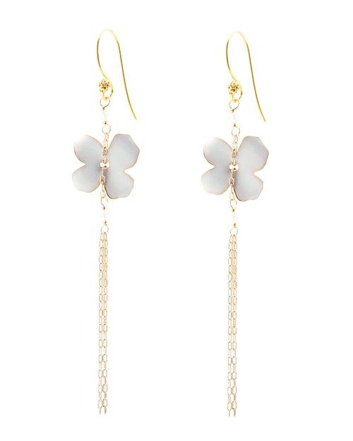 Flower Fringe Earrings - White