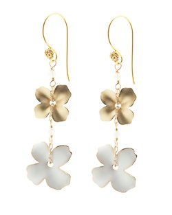 Double Flower Earrings - White