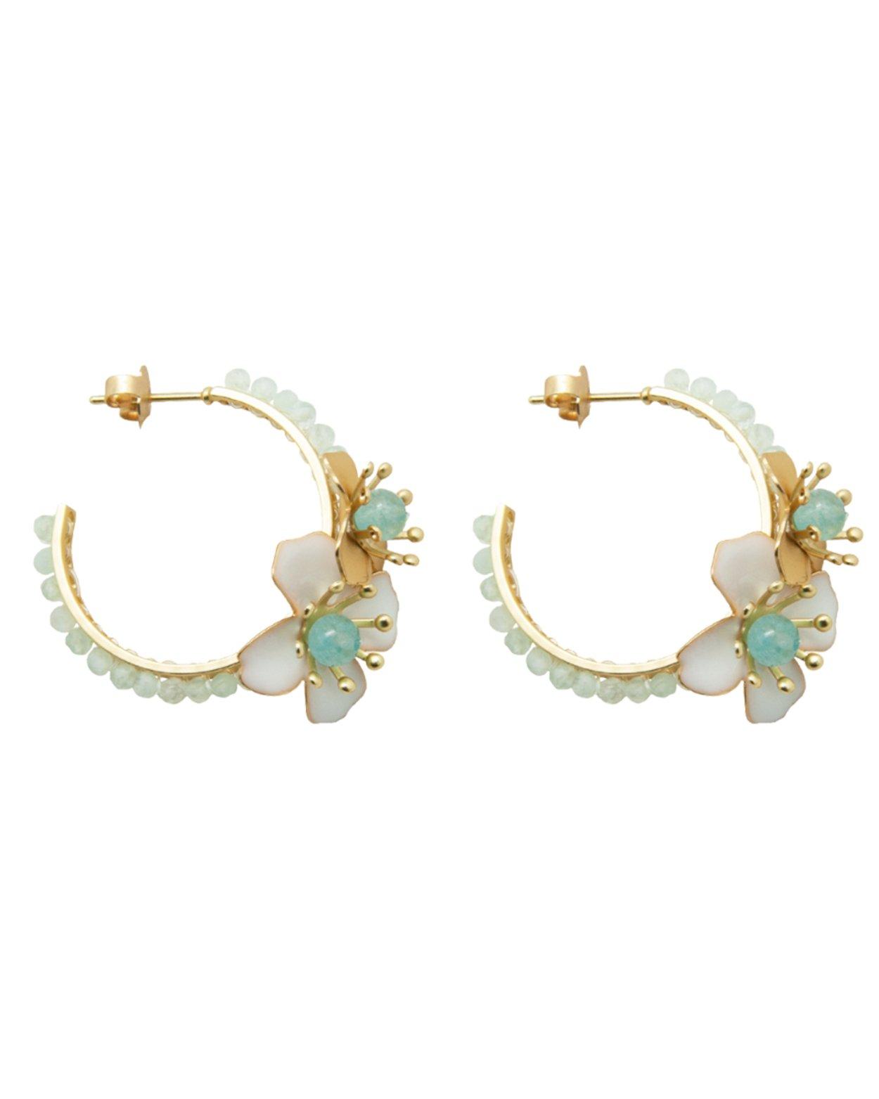 Beaded Flower Hoop Earrings - Aquamarine