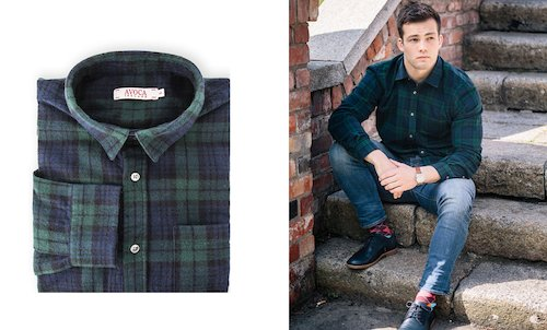 Brushed Cotton Flannel Shirt - Navy/Green