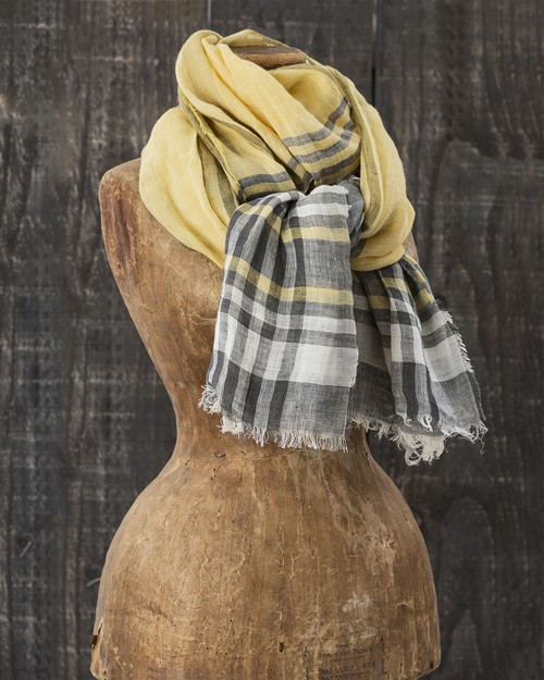 Florence Linen Scarf in Yellow Combo