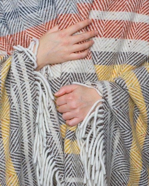 Rustic Stripe Heavy Herringbone Throw