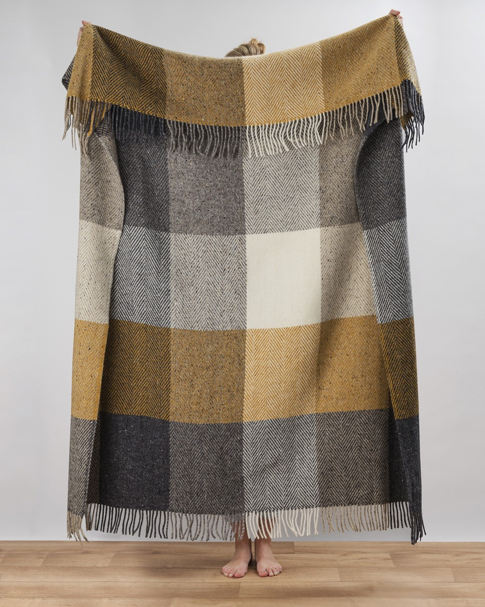 Peat Heavy Herringbone Throw