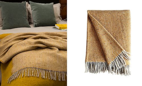 Yellow Heavy herringbone Throw