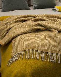 Yellow Heavy herringbone Throw